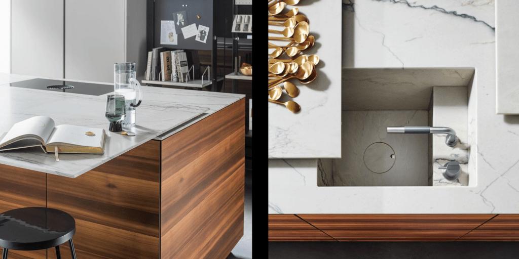 Plans de travail extra-fins coulissants - L'e-Motion au rendez-vous pour une cuisine allemande de haut de gamme et de luxe